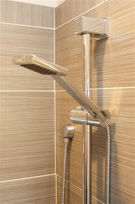 hand held shower heads for bathtubs gray tile shower with chrome handheld shower head modern