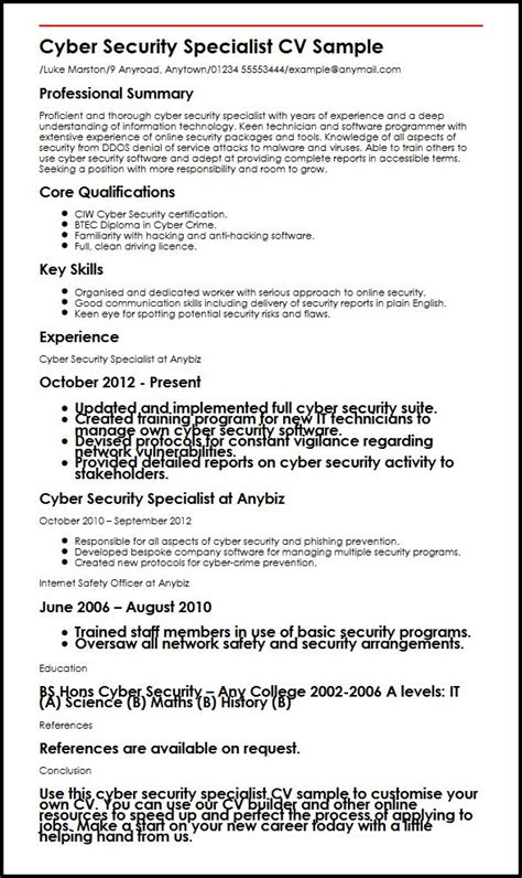 Cyber Security Resume by Cyber Security Specialist Cv Sle Myperfectcv