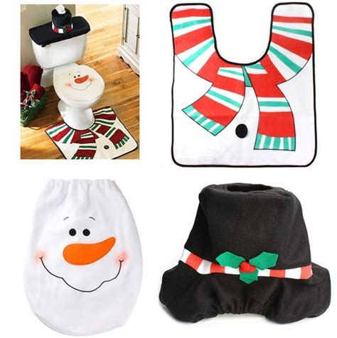 Santa Toilet Seat Cover Intl snowman santa toilet seat cover and rug set for bathroom