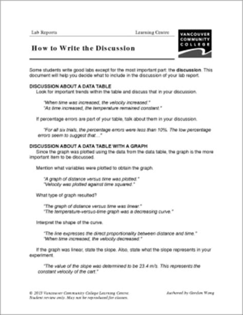 exles of discussion section of a lab report vcc lc worksheets biology lab reports