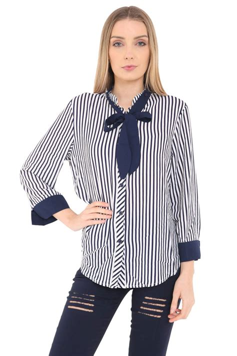 Bow Tie Blouse Sleeve by Womens Bow Tie Shirt Striped Buttoned Blouse