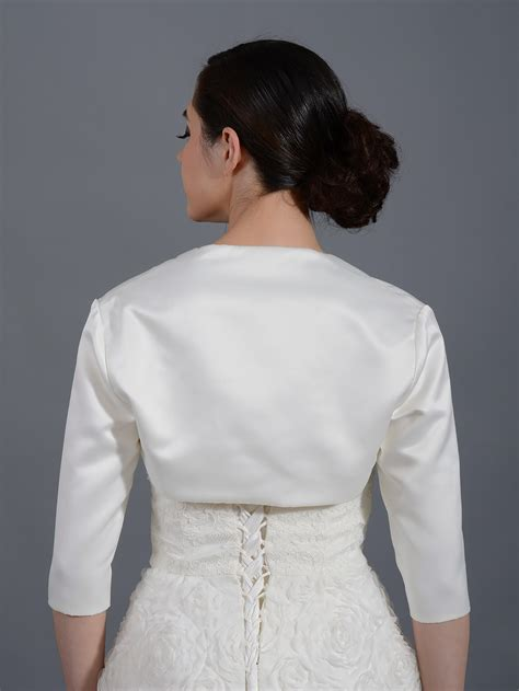 white bolero jacket wedding 3 4 sleeve wedding satin bolero jacket satin009