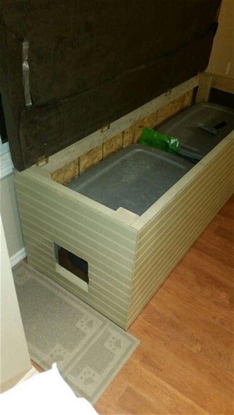 cat litter storage bench bench litter box enclosure cool cat stuff pinterest