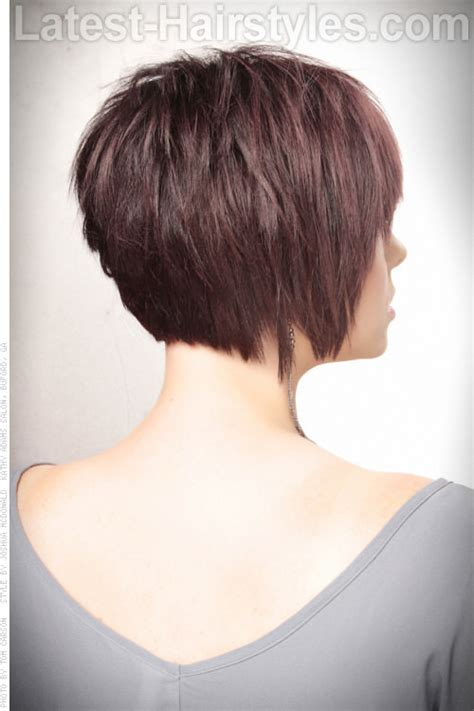 front side bavk views of short hair cuts side back textured bob short haircut with volume and
