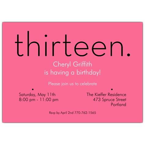 thirteen pink 13th birthday invitations paperstyle