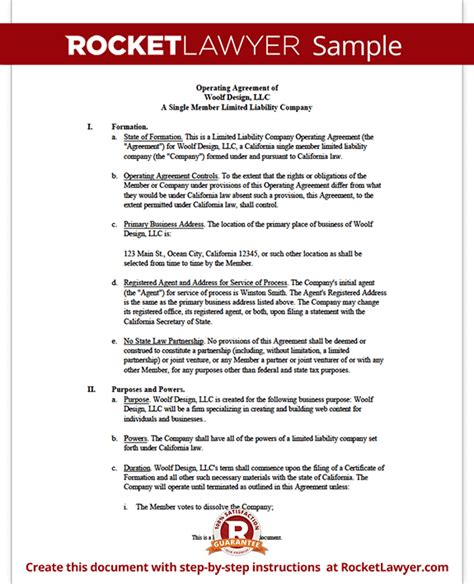 Single Member Llc Operating Agreement Llc Membership Agreement Template