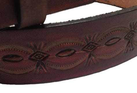 Handmade Mens Leather Belts - handmade mens leather belt 1 5 quot wide crowsfoot sted design