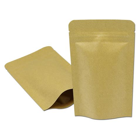 9 X 14 Kraft Paper Kemasan Bubuk Zip Lock Packaging Kopi 5 9 x8 3 15 21cm brown kraft paper zip lock stand up aluminum foil bags coffee snack