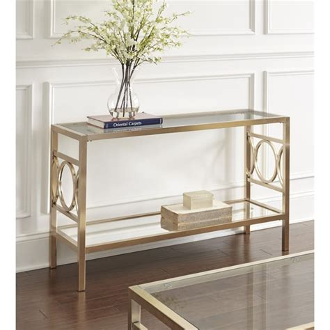 Steve Silver Co Churchill Sofa Table In Chrome Bed Bath Steve Silver Olympia Glass Top Console Table In Gold