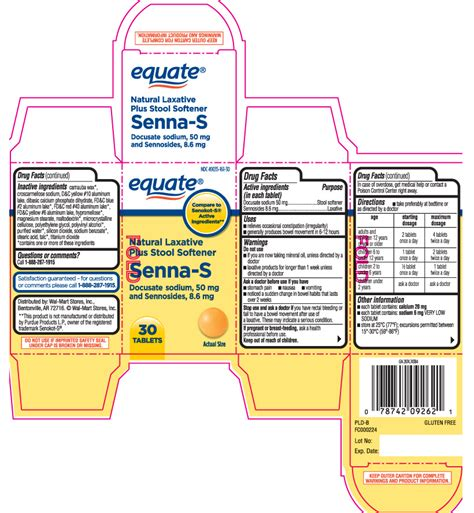 Senna Stool Softener Dosage by Senna S Equate Walmart Stores Inc Docusate Sodium