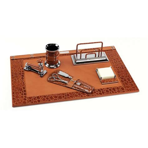 classic desk accessories classic crocodile deluxe leather desk set paolo guzzetta