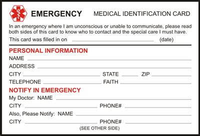 emergency information card template free alert identification card and