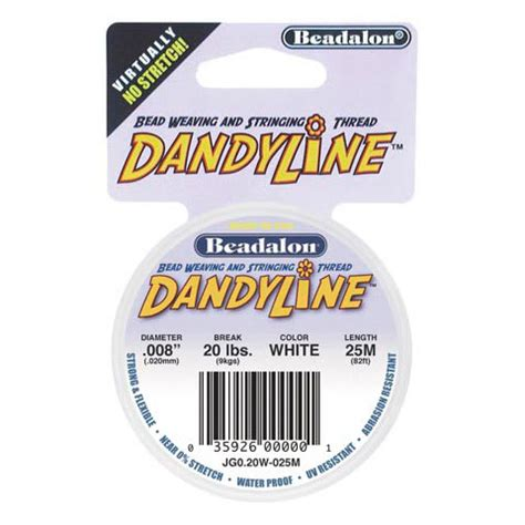 dandyline beading thread beadalon dandyline beading thread 15mm white 25 meter