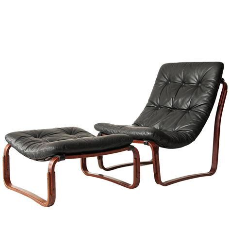 Ingmar Relling For Westnofa Black Leather Chair And Chair And Ottoman