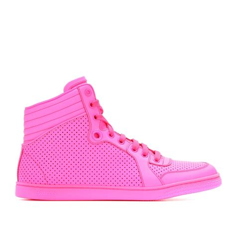 neon gucci sneakers lyst gucci hightop neon leather sneakers in pink