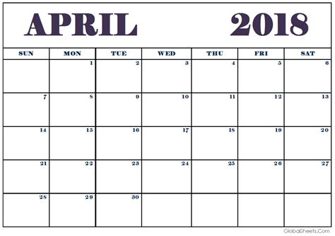 printable calendar 2018 with lines april 2018 calendar free printable