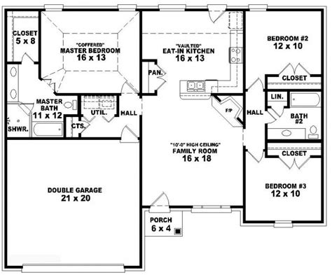 3 bedroom 3 bath floor plans 653788 one story 3 bedroom 2 bath french traditional