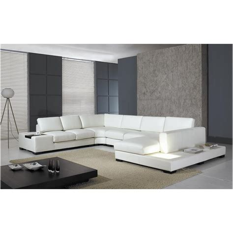 White Sectional Sofa Leather Vig Furniture T35 White Leather Sectional Sofa With Lights Pricefalls