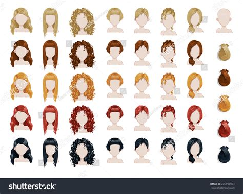hairstyle design app set female hair style sprites vector stock vector
