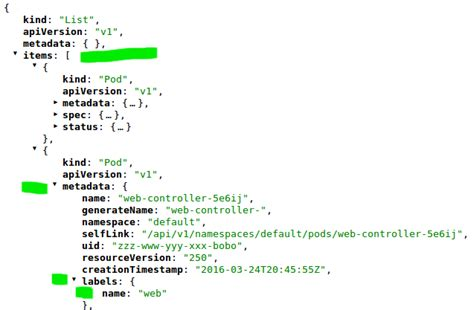 layout json parsing how to parse json format output of kubectl get