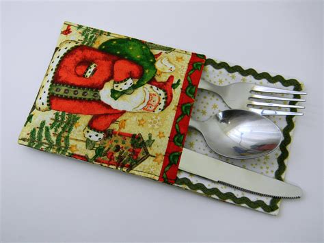 printable christmas utensil holders christmas silverware holders set of 6 utensils table ware