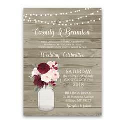 rustic wedding reception only invitation jar