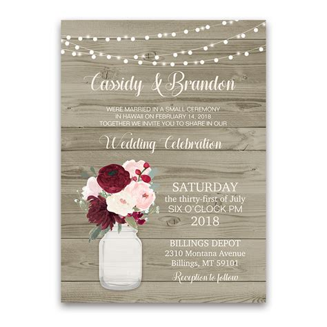 in wedding reception invitations rustic wedding reception only invitation jar