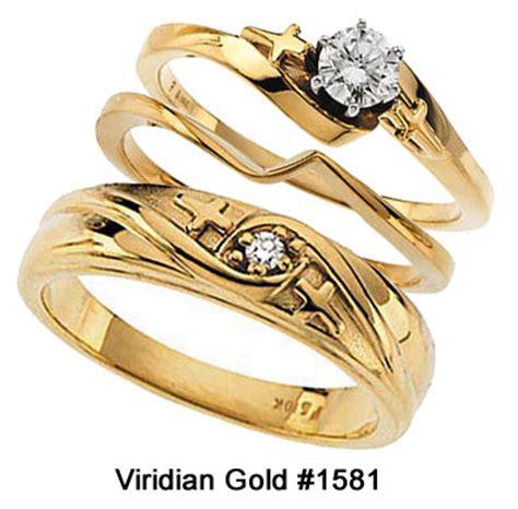 religious cross wedding ring 3 ring set in 10k