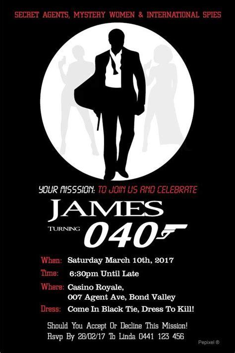 40th Birthday Invitation 007 Spies James Bond Free Bond Invitation Template