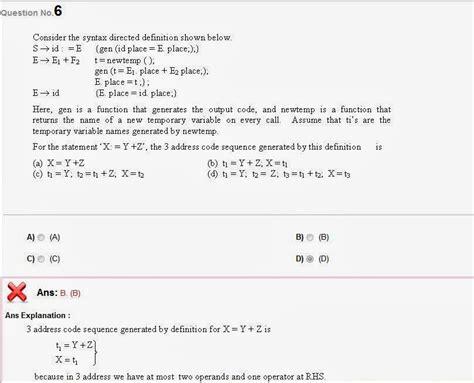 compiler design online quiz debaonline4u compiler design questions for gate psu