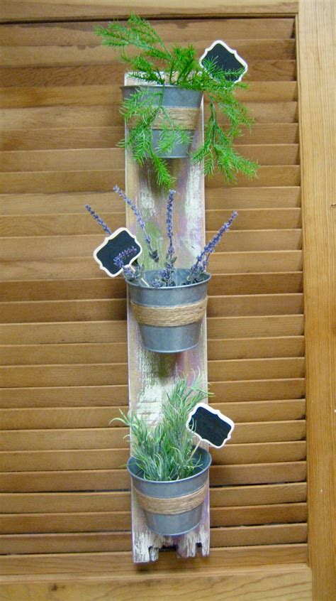 Wall Mounted Herb Planter by Rustic Wall Mounted Planter Hanging Herb Garden
