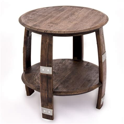 Wine Barrel End Table With Metal Bands
