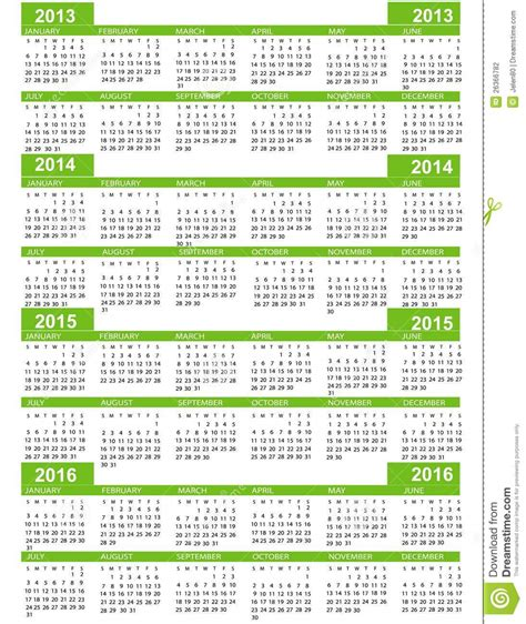 calendar for 2014 2015 2016 2017 year stock illustration image