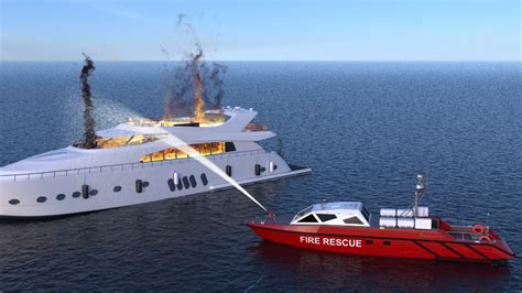 fire boat fighting fire firefighting baglietto navy