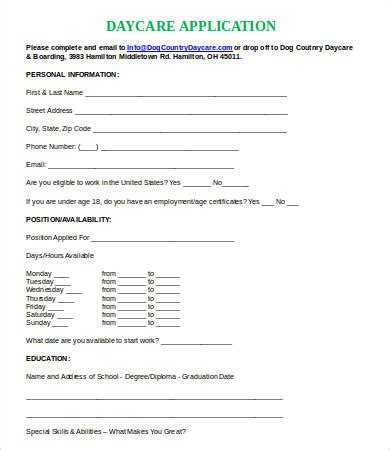child care employment application template daycare application template printable application