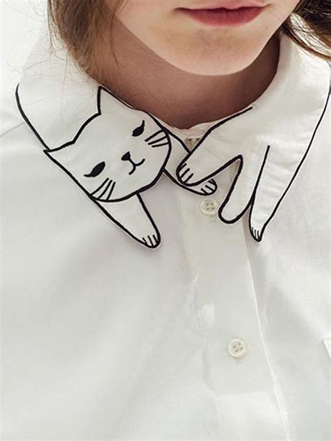 Cat Embroidery Shirt white shirt with embroidered cat collar detail creative