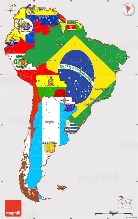 south america map directions flag simple map of south america