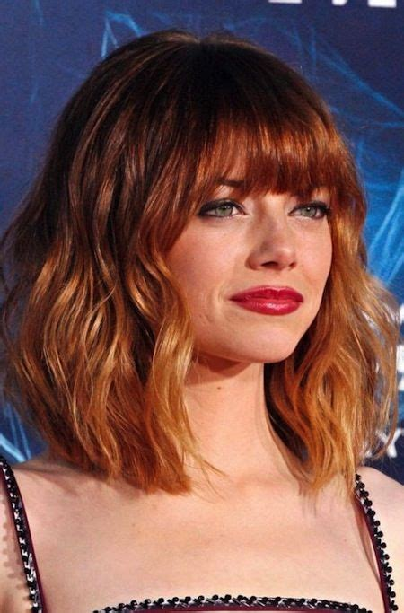 emma bushy hairstyle emma stone thick full fringe ombre bob haircut