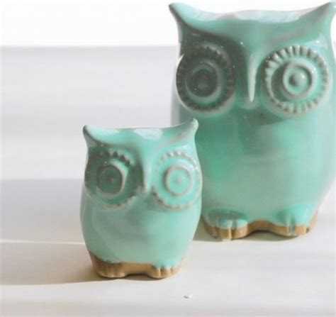 owl home decor accessories mint green owl and owlet mother and child home decor