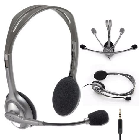Headset Logitech H111 logitech stereo headset h111 headphones w boom microphone noise cancellation ebay