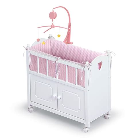 Mobile Toys For Crib by Badger Basket Doll Crib With Cabinet Mobile And Bedding
