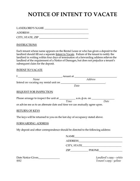 free 30 day notice to vacate template 30 day notice to vacate letter to tenant template exles