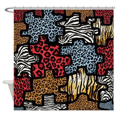 animal print shower curtain rab animal print puzzle shower curtain by leehillerdesigns