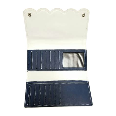 80396 Light Blue 2 scalloped faux leather tri fold wallet embroidery blank navy