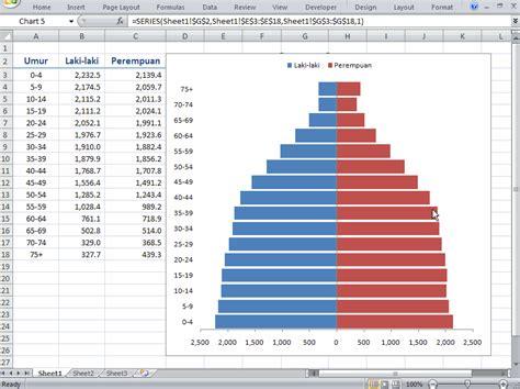 cara membuat grafik statistik di excel cara membuat grafik piramida penduduk dengan excel