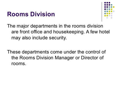 what is room division management in hotel 14100484 hotel front office department