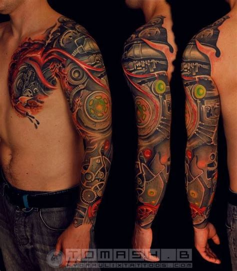mechanical tattoo sleeve designs bio mechanical tattoos this
