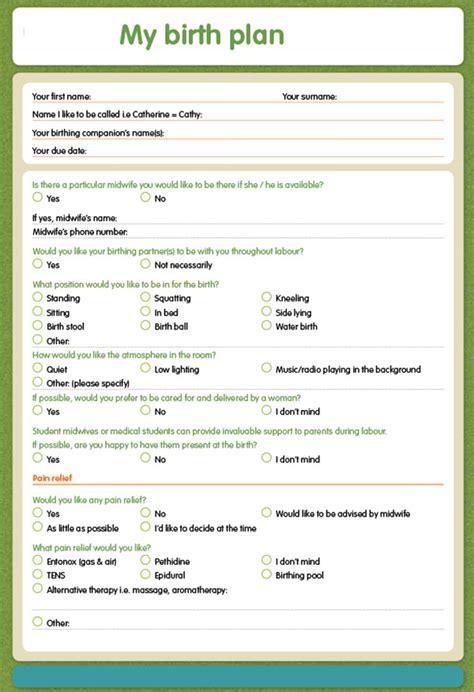 Galerry blank printable birth plan