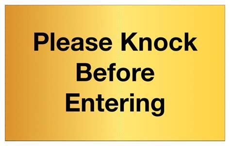 Knock The Door Sign by Knock Before Entering Aluminium Brass Door Signs