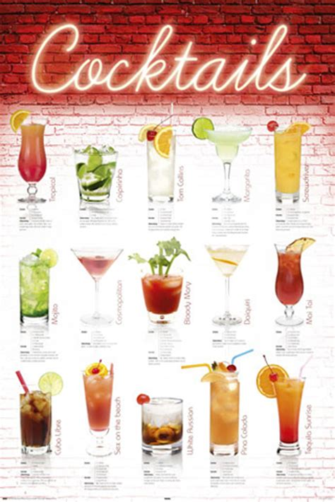 cocktail recipes poster cocktails rezepte poster 61x91 5